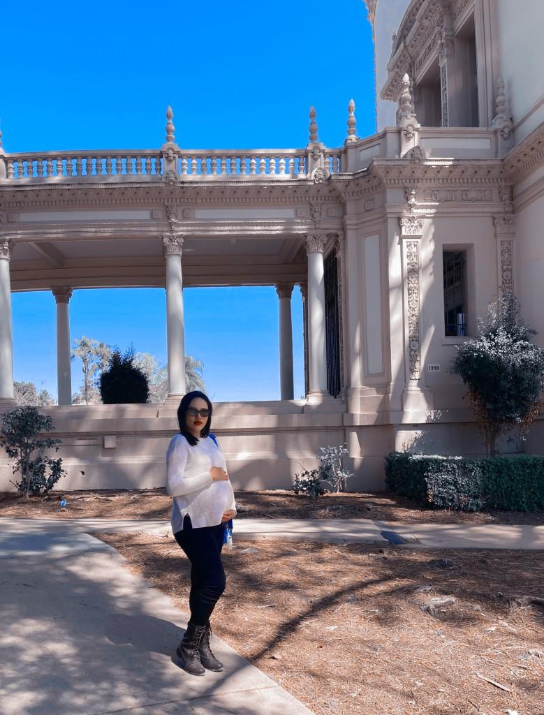 35 weeks pregnant, location: Balboa Park near Spreckels Pavillion